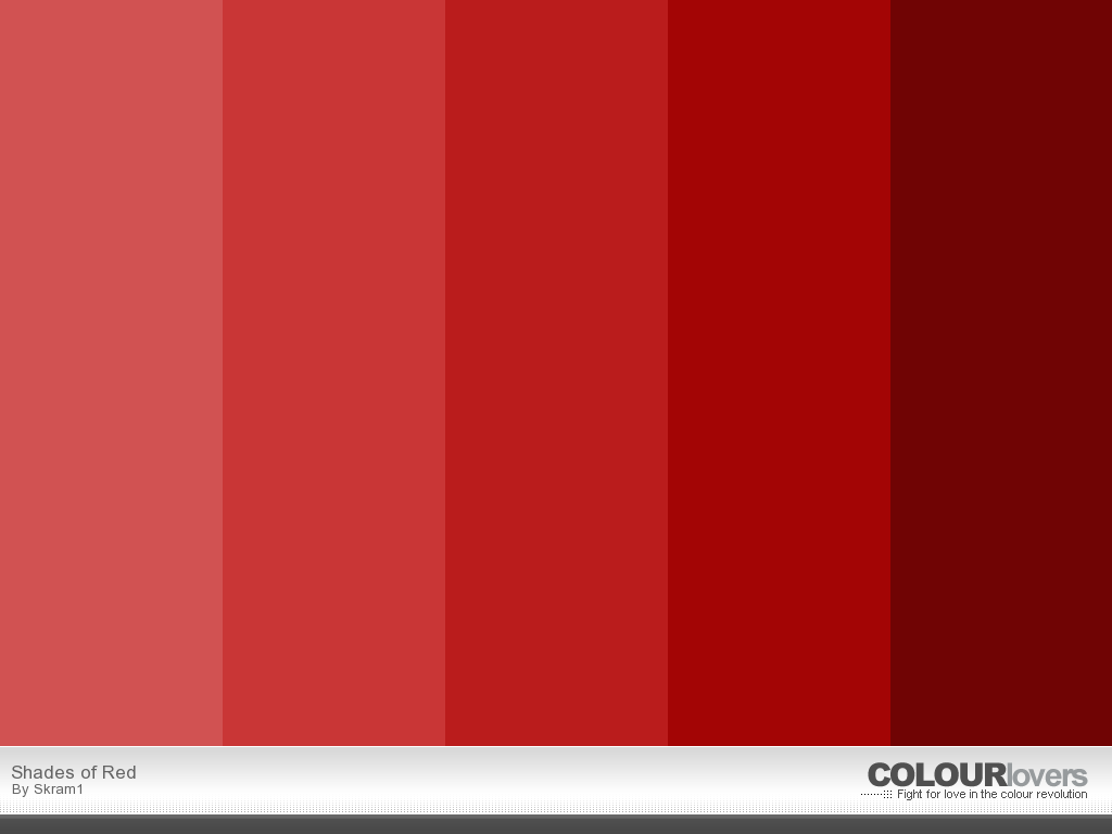 Different Shades Of Red Red.