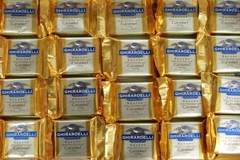 Ghirardelli milk choc caramel squares