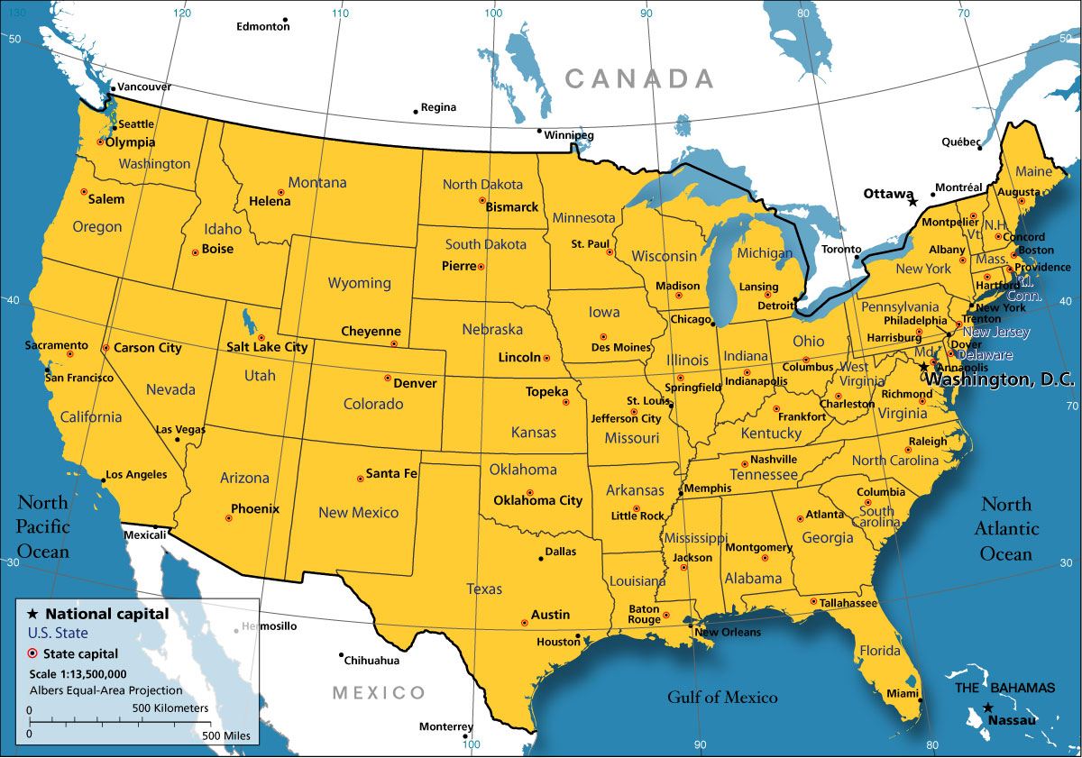 Map Of The United States - Us map pi