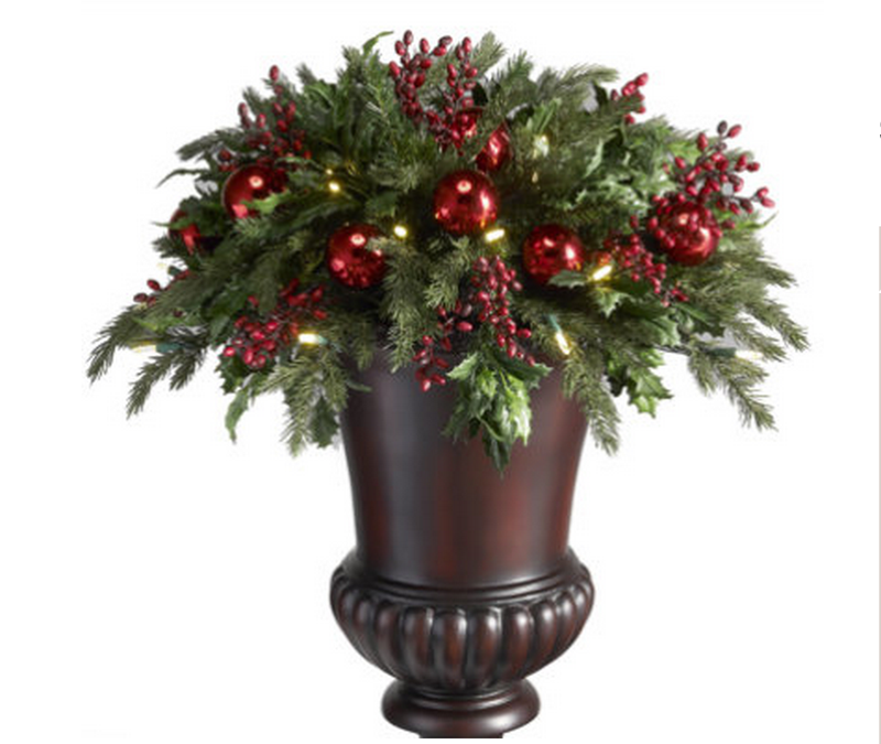 battery operated holly and berry christmas urn filler